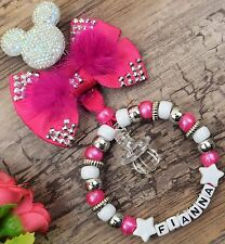 Personalised stunning pram charm in hot pink gem bow for baby boys girls