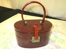 Vtg 1950s Bakelite Box Purse Rust Color Two Compartments Stacked Oval Shape