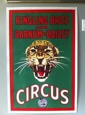 Original Ringling Brothers Barnum & Bailey Snarling Leopard Circus Poster  40's