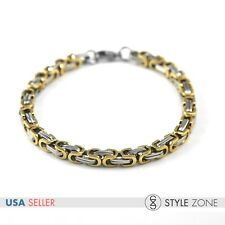 Men's Stainless Steel Heavy Duty Gold Tone Box Link Chain Bracelet Punk Cool M14