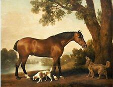 Art large Oil painting Hunter and Spaniels Horse Dog in landscape on canvas