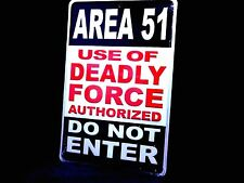 Area 51 Do Not Enter Alien UFO Embossed Metal Tin Sign - Made in USA!