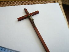 VINTAGE OLD WALL HANGING SILVER PLATED & WOOD CROSS CRUCIFIX 1970,S