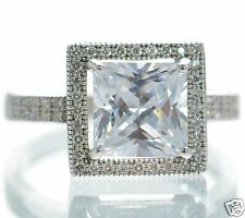 Solid 925 Sterling Princess Cut Lab Simulated Diamond Solitaire Ring Sz-7'