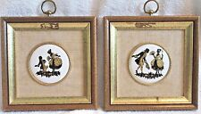 Pair of Vintage Wall Plaques, Courting Couple Ceramic - B S Creations, New York