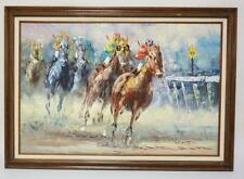 OIL PAINTING ON CANVAS OF A HORSE RACE. SIGNED LOWER RIGHT. 23 1/2 X... Lot 1128