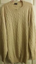 NWOT CRUCIANI 100% CASHMERE MADE IN ITALY BIG  TALL CABLE KNIT BEIGE SWEATER 2XL