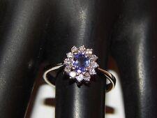 14k White Gold .57 tcw Tanzanite D-Block AAA Halo Diamond Ring E/VS2 Engagement