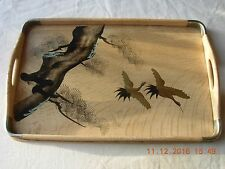 Oriental hand painted cranes on wooden serving tray lacquer cream & gold