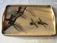 Grúas Oriental Pintado A Mano En Laca de madera Bandeja de servir crema y oro