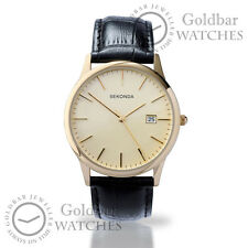 Sekonda Mens Gents Gold Dial Gold Case Black Leather Strap Watch 3697 RRP£29.99