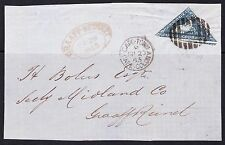 CAPE OF GOOD HOPE 1864 4d SG 19 TRIANGLE TIED BY BONC 4? TO COVER FRONT+ARRIVAL
