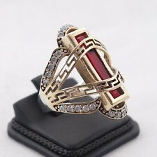 EXCELLENT!  TURKISH HANDMADE RUBY STERLING SILVER 925K RING SIZE 9