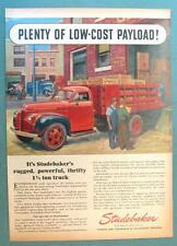 PLENTY OF LOW COST PAYLOAD Original 1946 Studebaker Red Stake Bed Truck Ad
