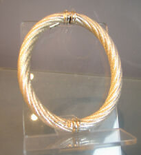 Luciani of Venice Italy solid silver bangle sprung rope bracelet, original box.