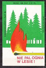 POLAND 1978 Matchbox Label - Cat.G#464 Do not burn a fire in the woods!