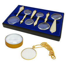 Gold Tone 8 Piece Magnifying Set Handheld Necklace Table Top Magnifier Glass