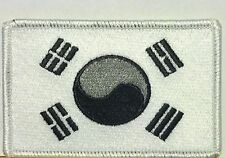 SOUTH KOREA FLAG PATCH Iron On Morale Patch Black, Gray & White Version #01