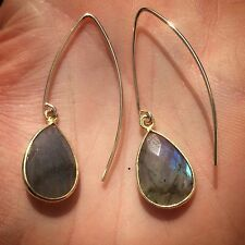 14K Gold-filled or Sterling Silver Labradorite Stone Tear Drop Open Hoop Earring