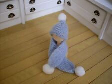 Miniature Hat & Scarf Set ~ BLUE & WHITE ~