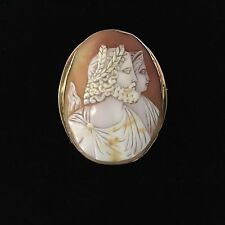 Beautiful Antique Zeus & Hera Greek Gods Cameo Brooch 10K Gold Setting