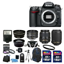 NEW Nikon D7000 SLR Camera With 5 Lens Kit: 18-55mm 55-200, 50mm + 24GB Full Kit
