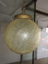 Antique Art Deco Light Fitting w Crackled Glass Shade Complete w Gallerys 1930s