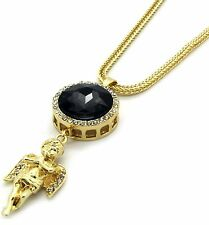 "Mens Gold Plated Iced Out Black Cz Oval Angel Pendant Hip-Hop 30"" Franco Chain"