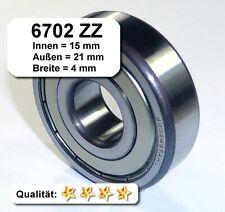 4 Stk. Radiales Rillen-Kugellager 6702ZZ - 15x21x4, Da=21mm, Di=15mm, Breite=4mm