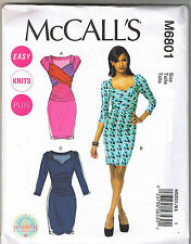 Easy Ruched Stretch Knit Cross Body Dress McCalls Sewing Pattern 8 10 12 14 16