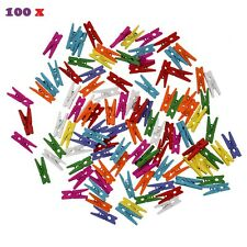100 x Wooden Craft Pegs Clothes Paper Photo Hanging Spring Clip For Message Card