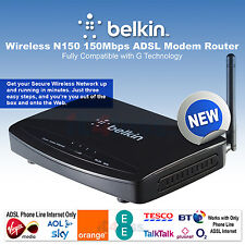 Belkin N Wireless ADSL Modem Router Sky BT TalkTalk WiFi 4-Port Ethernet F9J1004