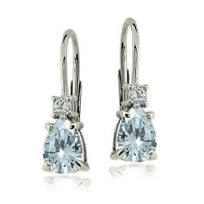 Sterling Silver Aquamarine & White Topaz Teardrop Leverback Earrings