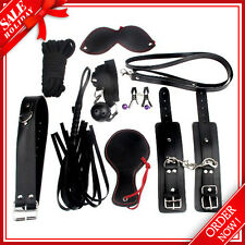 9 PCS Bondage Kit Roleplay Handcuff Whip Rope Blindfold Ball BDSM Bed Restraint