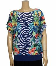JM Collection Size 1X Wild Tropical Animal Print Embellished Short Sleeve Blouse
