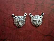 Oxidized Silver Cat Head Connector Stampings (2) - SOGB6404 Jewelry Finding