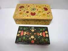 2 Jewelry Sewing Trinket Boxes Paper Mache Jerywil Japan & Wooden Lacquer India