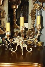 ANTIQUE Italian/French Tole Candle-CANDELABRA Lamp Gilt Gold