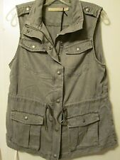 $99 Max Jeans Art Grey Tencel Military Style Long Jacket Vest Anorak Size M NWT