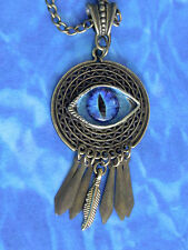 "UNISEX Handmade Bronze Plt DREAM CATCHER  + Blue Dragon EYE CHARM 26-29"" chain"