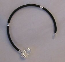 "LADIES 2mm LEATHER BRACELET 925 STERLING SILVER FITS BEADS 7.5"" FREE GIFT BOX"