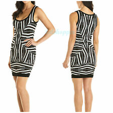 NICOLE MILLER Graphic Print Bodycon Fitted Sexy Sweater Dress NWT L 12-14 $290