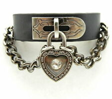 TEW111 Gothic Punk Rock Biker Heart Lock Leather Cuff Bracelet Wristband