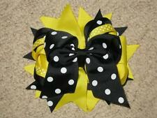 "NEW ""BLACK & YELLOW DOT"" Double Layer Hair Bows Clips Girls Ribbon Bow 5 Inches"