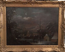19th C Unusual Dutch Evening Winter Landscape Oil Painting . Antique
