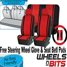 Red Mesh Cloth Car Seat Cover Steering Glove fit Toyota Avensis Corrola Prius