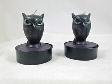 BLACK OWL Large Tea Light  Candles Set of 2 in Gift Box So Cute NEW Halloween