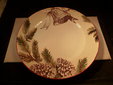 """NEW WILLIAMS-SONOMA HOLIDAY """"CHRISTMAS CAROLS"""" 11"""" DINNER PLATE PINE CONES BELL"""