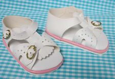 Doll Shoes - 85mm WHITE & PINK SANDALS Fringe Front - Strap & Buckles  AB7