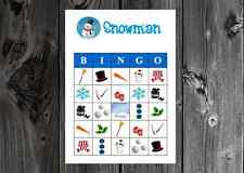 Snowman Winter Christmas Holiday Party Game Bingo Cards on Card Stock 10/20/30ct